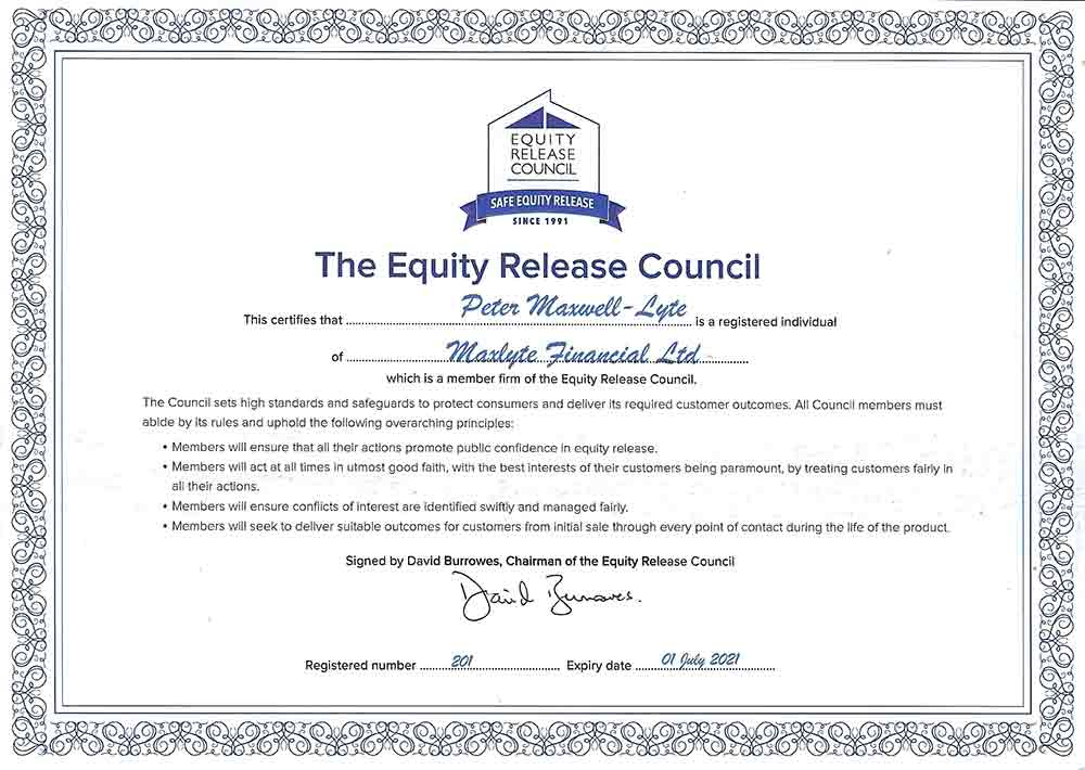 Equity Release Council Certificate 2021