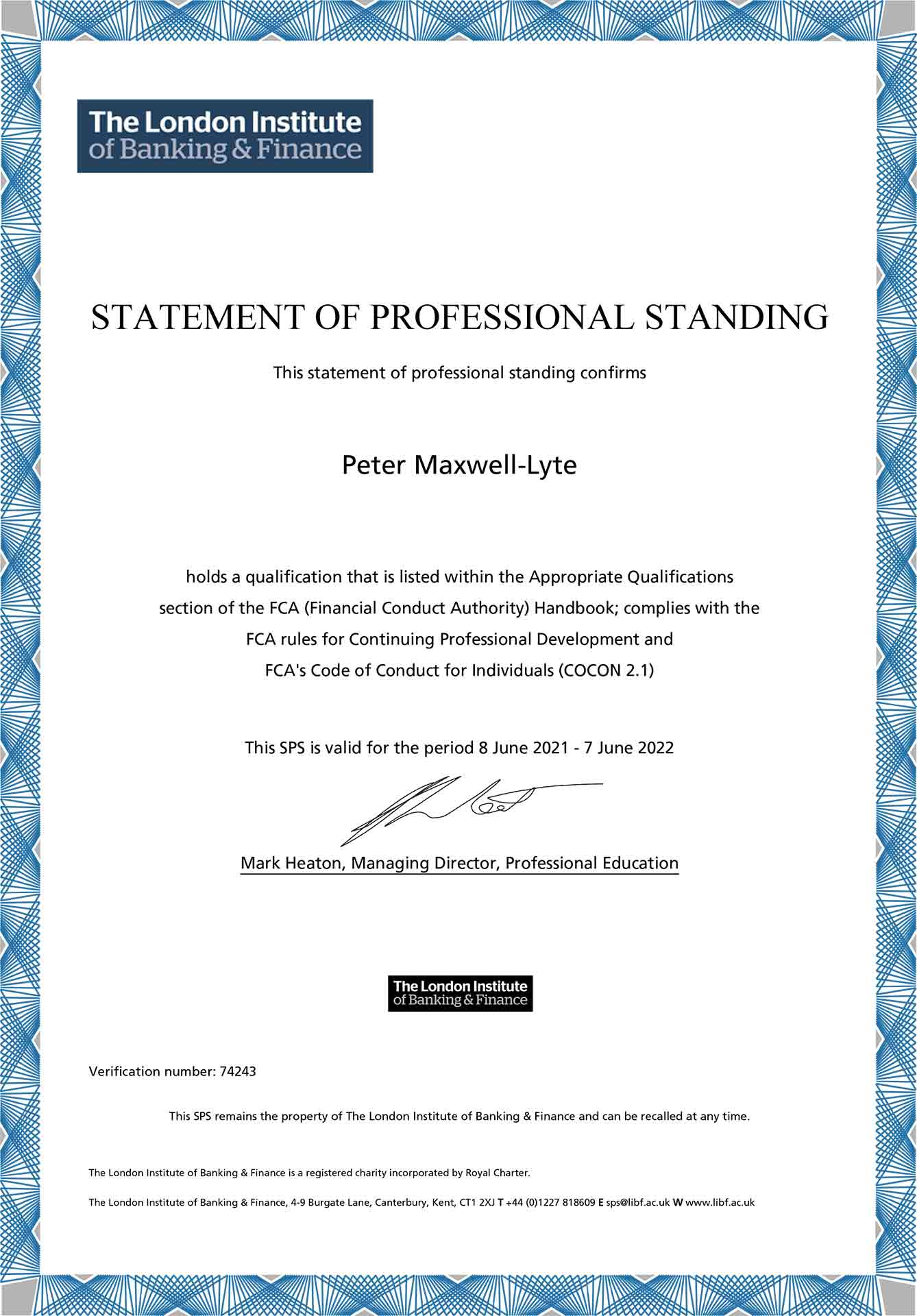 Statement of Professional Standing